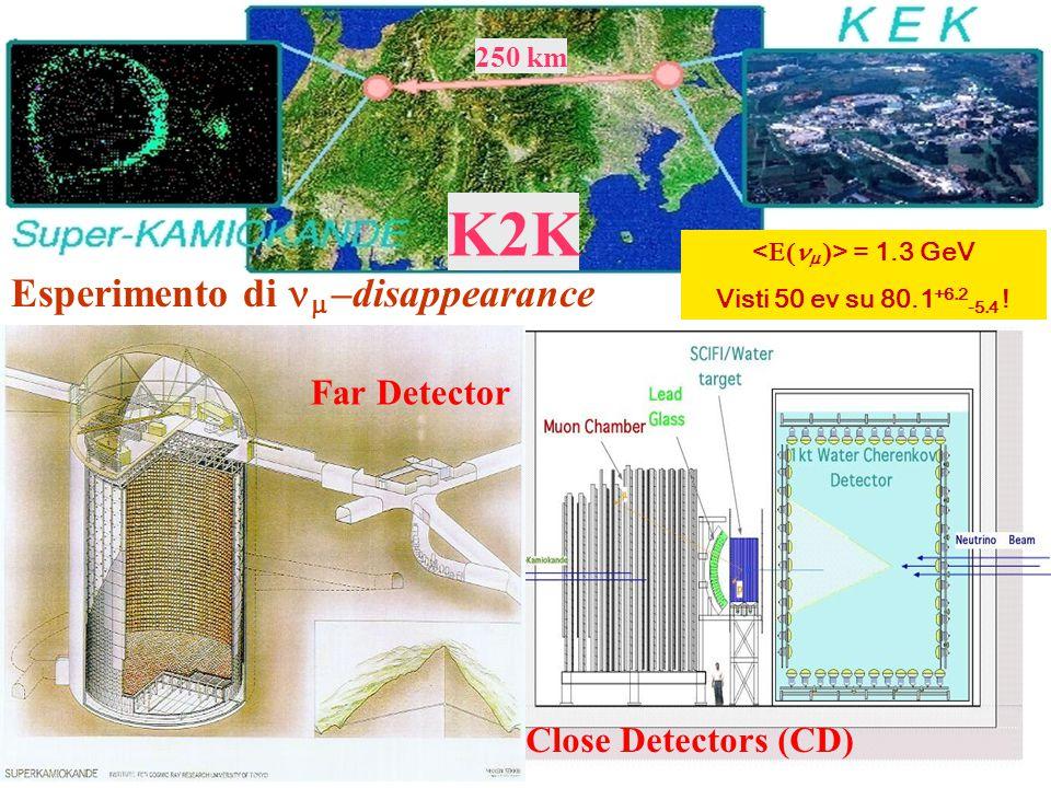 K2K 250 km Close Detectors (CD) Far Detector Esperimento di   –disappearance = 1.3 GeV Visti 50 ev su 80.1 +6.2 -5.4 !