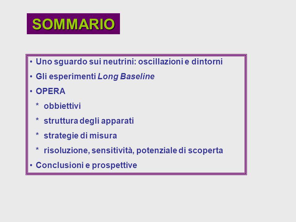 SOMMARIO Uno sguardo sui neutrini: oscillazioni e dintorni Gli esperimenti Long Baseline OPERA * obbiettivi * struttura degli apparati * strategie di
