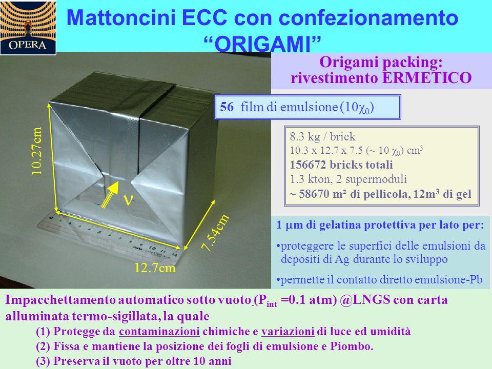 """Mattoncini ECC con confezionamento """"ORIGAMI"""" Impacchettamento automatico sotto vuoto (P int =0.1 atm) @LNGS con carta alluminata termo-sigillata, la q"""