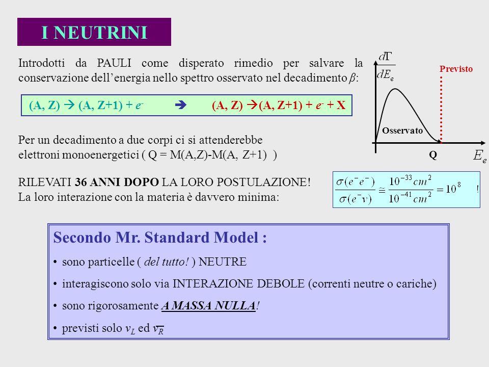 Secondo Mr. Standard Model : sono particelle ( del tutto! ) NEUTRE interagiscono solo via INTERAZIONE DEBOLE (correnti neutre o cariche) sono rigorosa