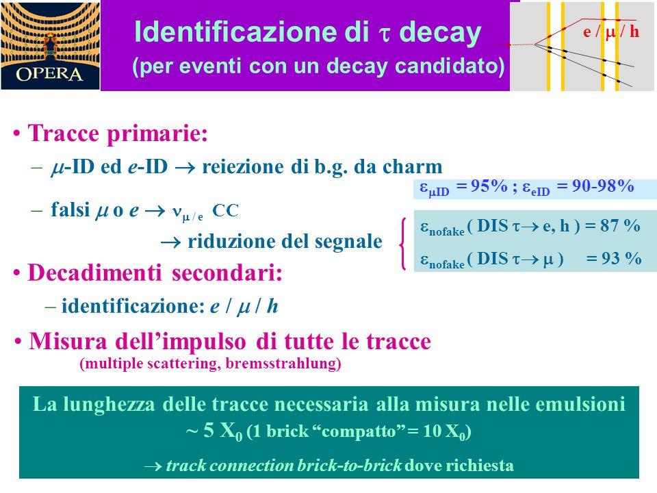 """La lunghezza delle tracce necessaria alla misura nelle emulsioni ~ 5 X 0 (1 brick """"compatto"""" = 10 X 0 )  track connection brick-to-brick dove richies"""