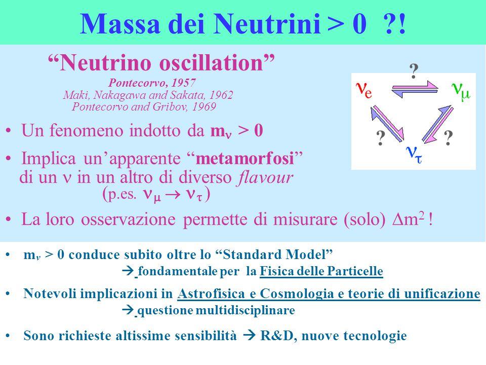 """Neutrino oscillation"" Pontecorvo, 1957 Maki, Nakagawa and Sakata, 1962 Pontecorvo and Gribov, 1969 Un fenomeno indotto da m  > 0 Implica un'apparen"