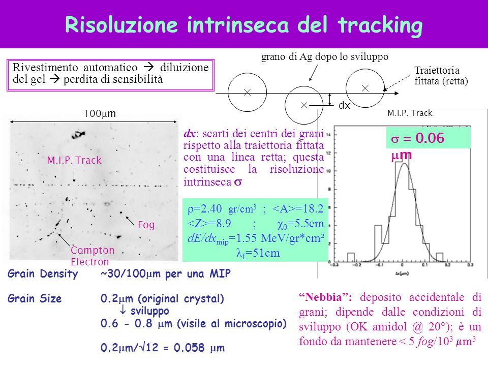Risoluzione intrinseca del tracking  = 0.06  m Compton Electron Fog M.I.P. Track grano di Ag dopo lo sviluppo dx M.I.P. Track Grain Density~30/100
