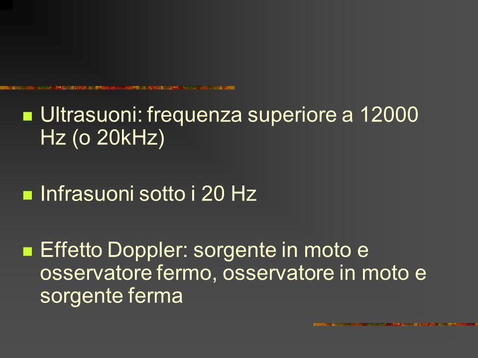 Ultrasuoni: frequenza superiore a 12000 Hz (o 20kHz) Infrasuoni sotto i 20 Hz Effetto Doppler: sorgente in moto e osservatore fermo, osservatore in mo