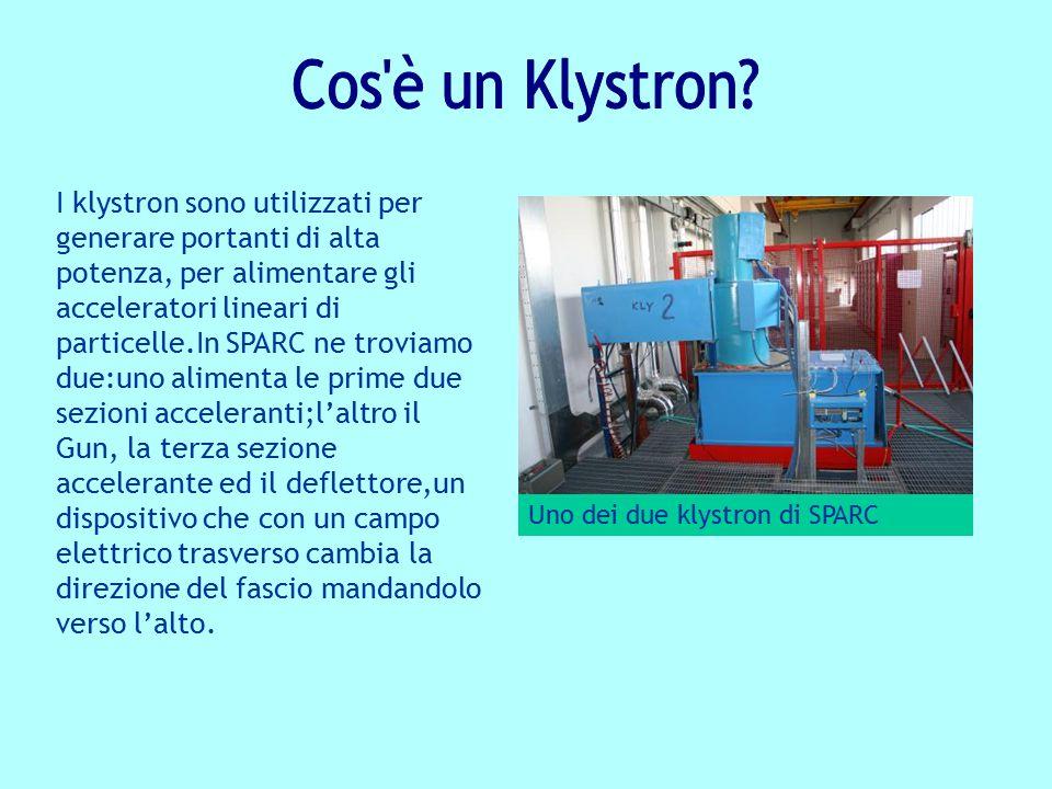 I klystron sono utilizzati per generare portanti di alta potenza, per alimentare gli acceleratori lineari di particelle.In SPARC ne troviamo due:uno a
