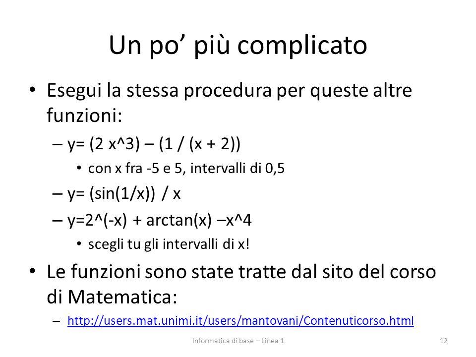 Un po' più complicato Esegui la stessa procedura per queste altre funzioni: – y= (2 x^3) – (1 / (x + 2)) con x fra -5 e 5, intervalli di 0,5 – y= (sin(1/x)) / x – y=2^(-x) + arctan(x) –x^4 scegli tu gli intervalli di x.
