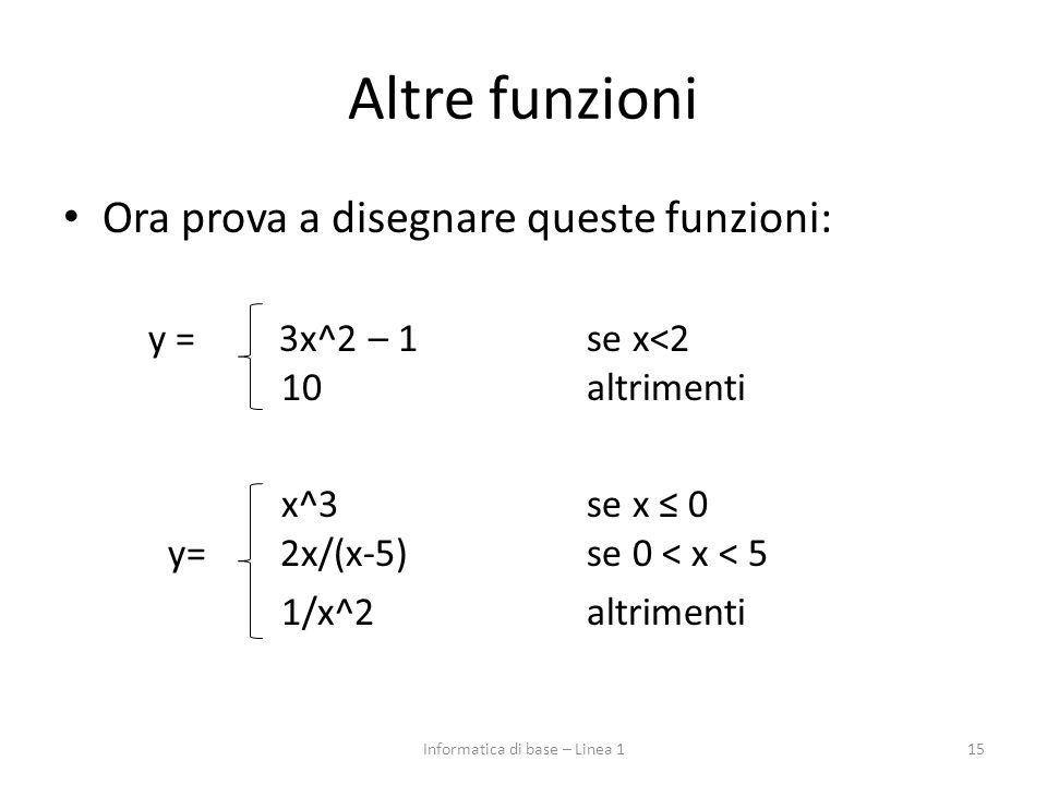 Altre funzioni Ora prova a disegnare queste funzioni: y = 3x^2 – 1 se x<2 10altrimenti x^3se x ≤ 0 y= 2x/(x-5)se 0 < x < 5 1/x^2altrimenti 15Informatica di base – Linea 1