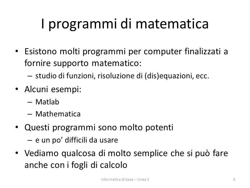 I programmi di matematica Esistono molti programmi per computer finalizzati a fornire supporto matematico: – studio di funzioni, risoluzione di (dis)equazioni, ecc.