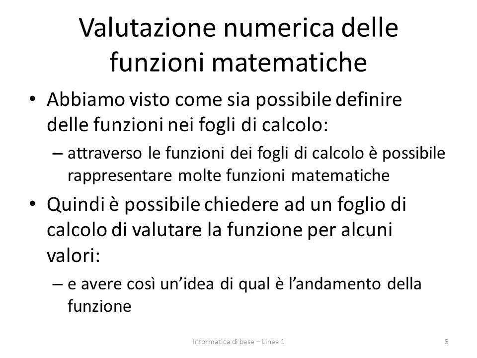 Valutazione numerica delle funzioni matematiche Abbiamo visto come sia possibile definire delle funzioni nei fogli di calcolo: – attraverso le funzioni dei fogli di calcolo è possibile rappresentare molte funzioni matematiche Quindi è possibile chiedere ad un foglio di calcolo di valutare la funzione per alcuni valori: – e avere così un'idea di qual è l'andamento della funzione 5Informatica di base – Linea 1