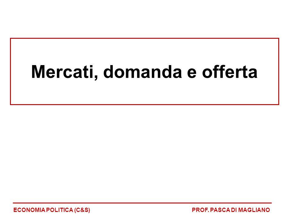 Mercati, domanda e offerta ECONOMIA POLITICA (C&S)PROF. PASCA DI MAGLIANO