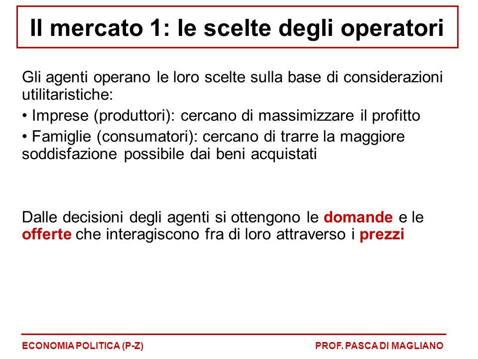 Il mercato 1: le scelte degli operatori Gli agenti operano le loro scelte sulla base di considerazioni utilitaristiche: Imprese (produttori): cercano