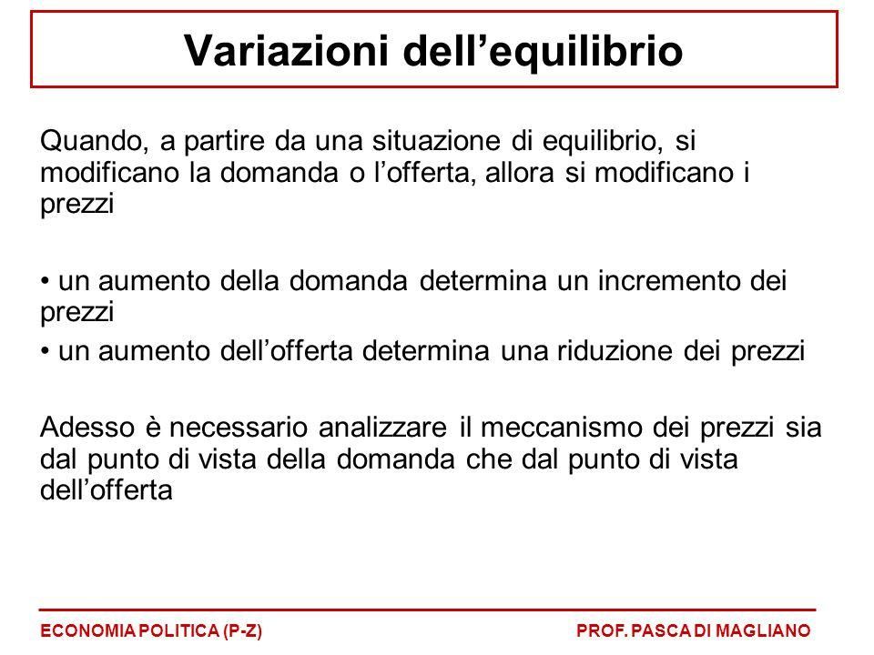 Variazioni dell'equilibrio Quando, a partire da una situazione di equilibrio, si modificano la domanda o l'offerta, allora si modificano i prezzi un a