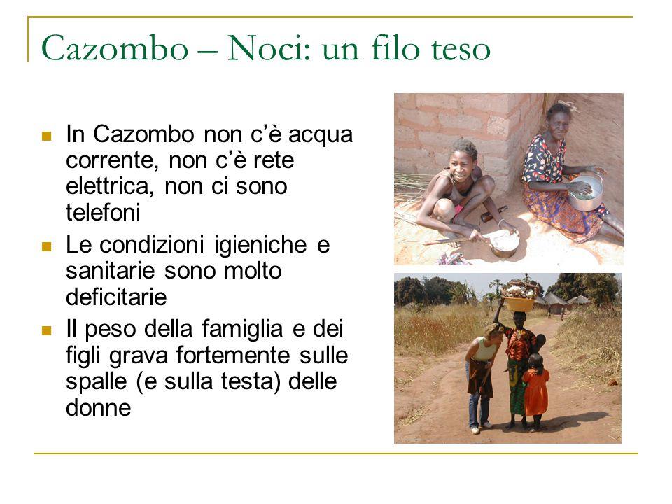 Cazombo – Noci: un filo teso La mortalità infantile è così alta che non è nemmeno conosciuta dall'Organizzazione mondiale della sanità I bambini si ammalano per le precarie condizioni igieniche e muoiono per la mancanza anche dei più semplici farmaci
