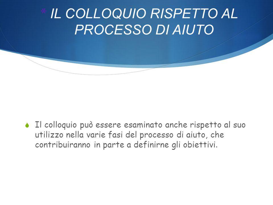 * IL COLLOQUIO RISPETTO AL PROCESSO DI AIUTO  Il colloquio può essere esaminato anche rispetto al suo utilizzo nella varie fasi del processo di aiuto, che contribuiranno in parte a definirne gli obiettivi.