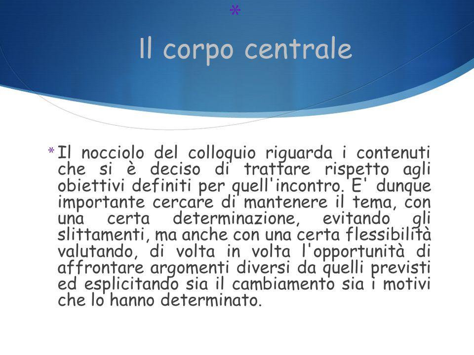 * I l corpo centrale * Il nocciolo del colloquio riguarda i contenuti che si è deciso di trattare rispetto agli obiettivi definiti per quell incontro.