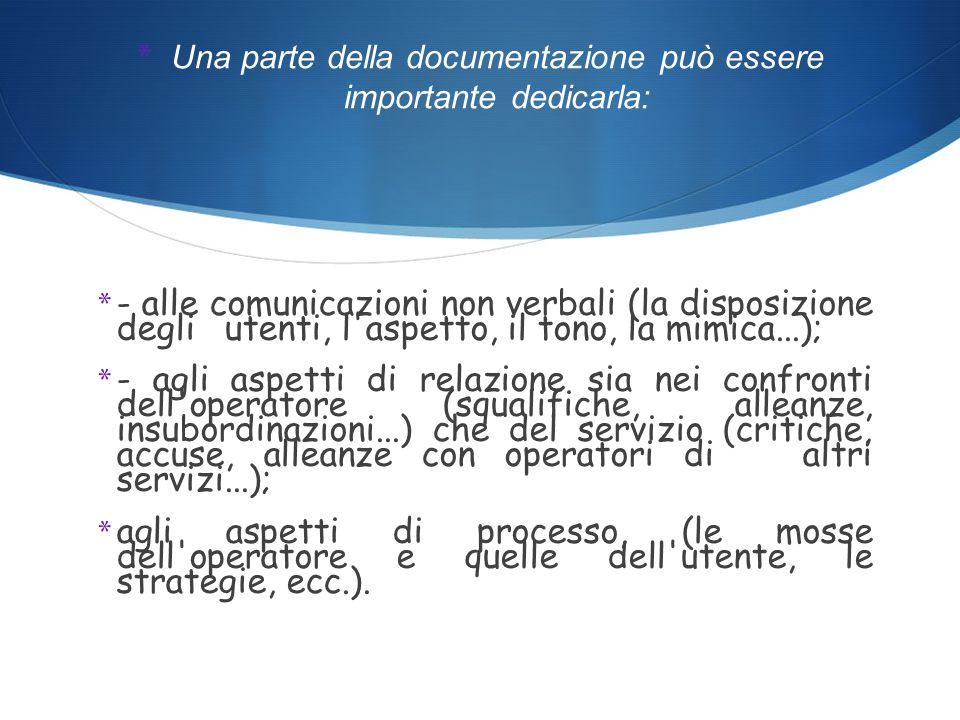 * Una parte della documentazione può essere importante dedicarla: * - alle comunicazioni non verbali (la disposizione degli utenti, l aspetto, il tono, la mimica...); * - agli aspetti di relazione sia nei confronti dell operatore (squalifiche, alleanze, insubordinazioni...) che del servizio (critiche, accuse, alleanze con operatori di altri servizi...); * agli aspetti di processo, (le mosse dell operatore e quelle dell utente, le strategie, ecc.).