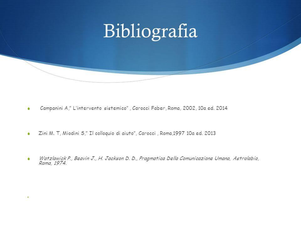Bibliografia  Campanini A, L'intervento sistemico , Carocci Faber, Roma, 2002, 10a ed.