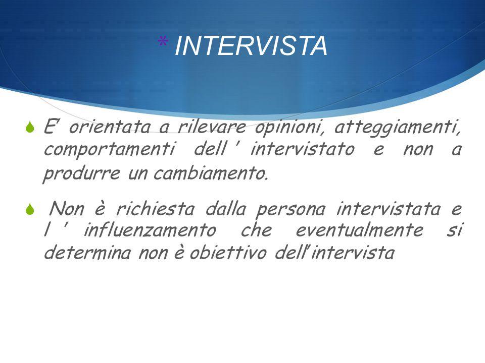 * INTERVISTA  E' orientata a rilevare opinioni, atteggiamenti, comportamenti dell'intervistato e non a produrre un cambiamento.