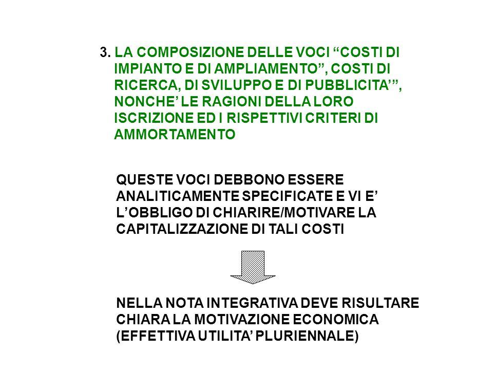 """3. LA COMPOSIZIONE DELLE VOCI """"COSTI DI IMPIANTO E DI AMPLIAMENTO"""", COSTI DI RICERCA, DI SVILUPPO E DI PUBBLICITA'"""", NONCHE' LE RAGIONI DELLA LORO ISC"""