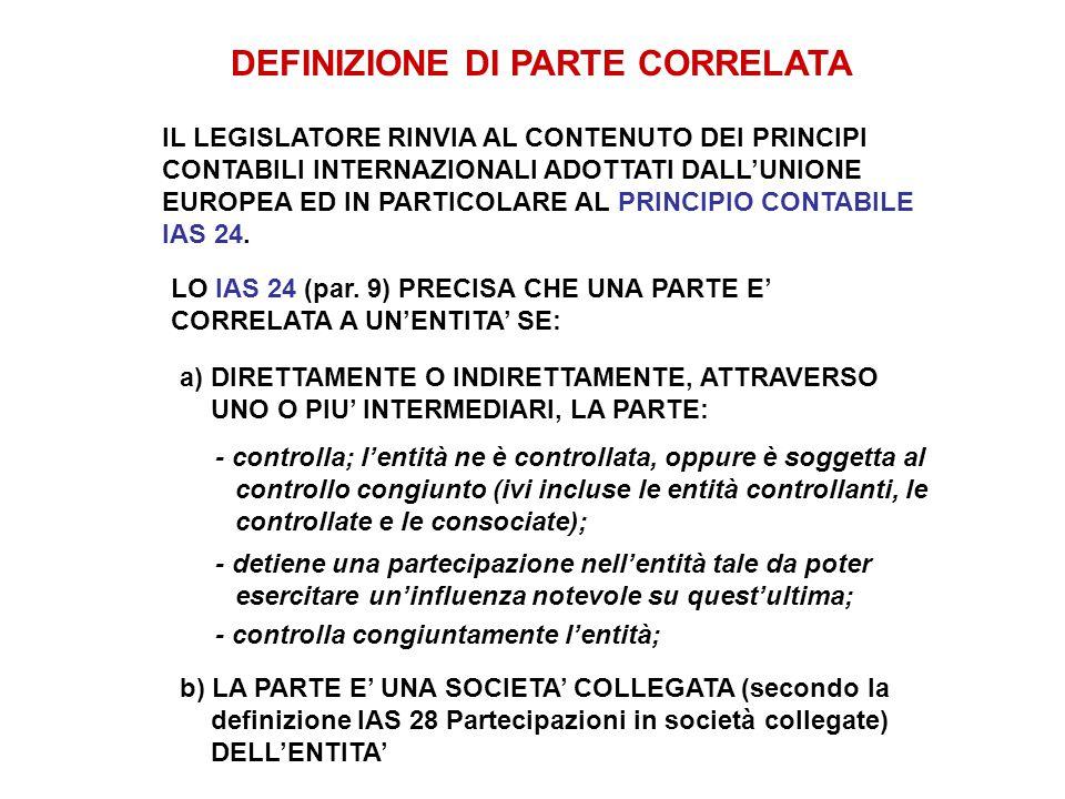 DEFINIZIONE DI PARTE CORRELATA IL LEGISLATORE RINVIA AL CONTENUTO DEI PRINCIPI CONTABILI INTERNAZIONALI ADOTTATI DALL'UNIONE EUROPEA ED IN PARTICOLARE