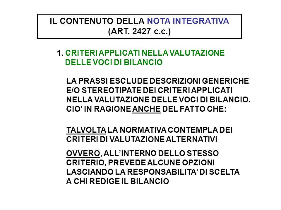 IL CONTENUTO DELLA NOTA INTEGRATIVA (ART. 2427 c.c.) 1. CRITERI APPLICATI NELLA VALUTAZIONE DELLE VOCI DI BILANCIO LA PRASSI ESCLUDE DESCRIZIONI GENER
