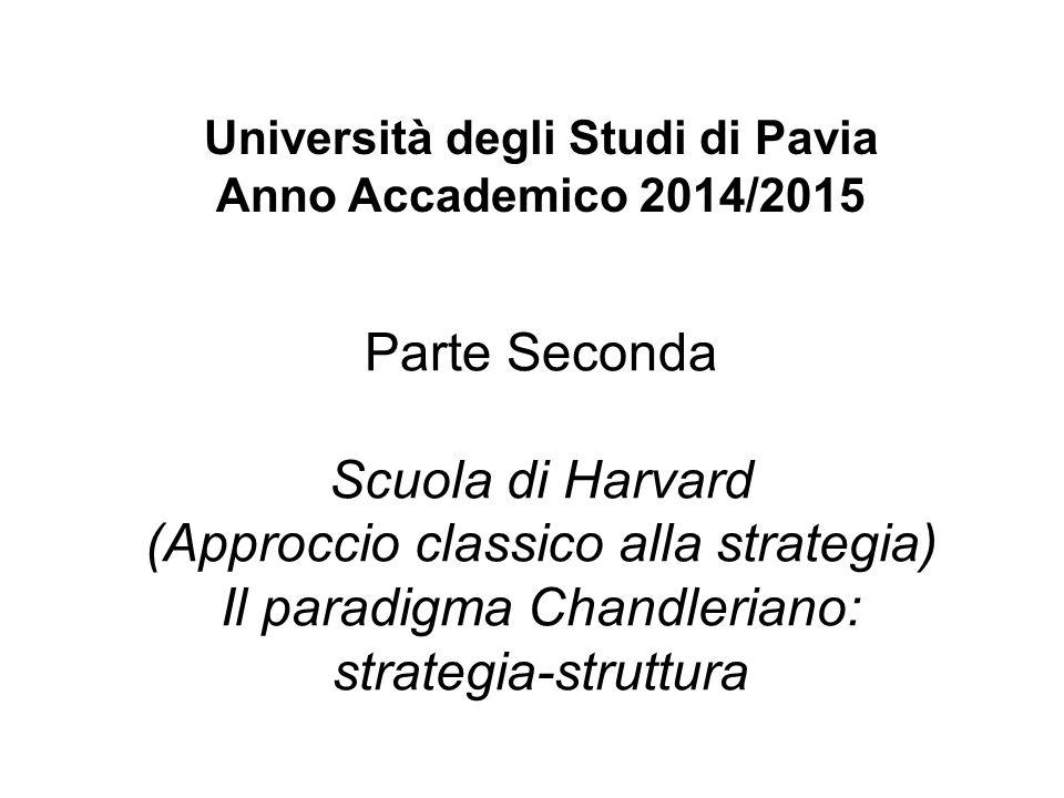 Università degli Studi di Pavia Anno Accademico 2014/2015 Parte Seconda Scuola di Harvard (Approccio classico alla strategia) Il paradigma Chandlerian