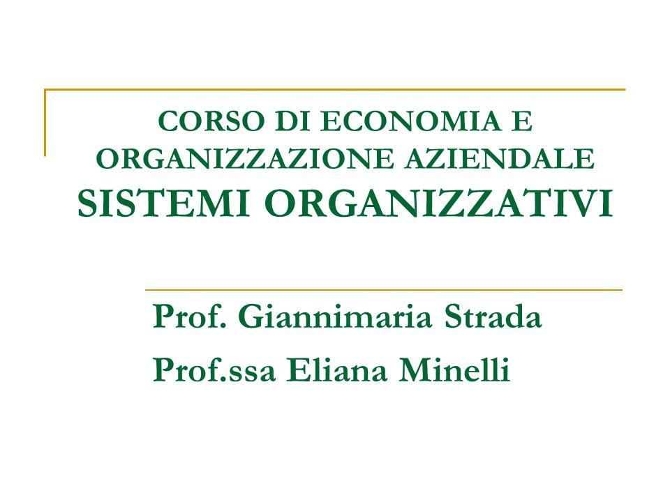 CORSO DI ECONOMIA E ORGANIZZAZIONE AZIENDALE SISTEMI ORGANIZZATIVI Prof.