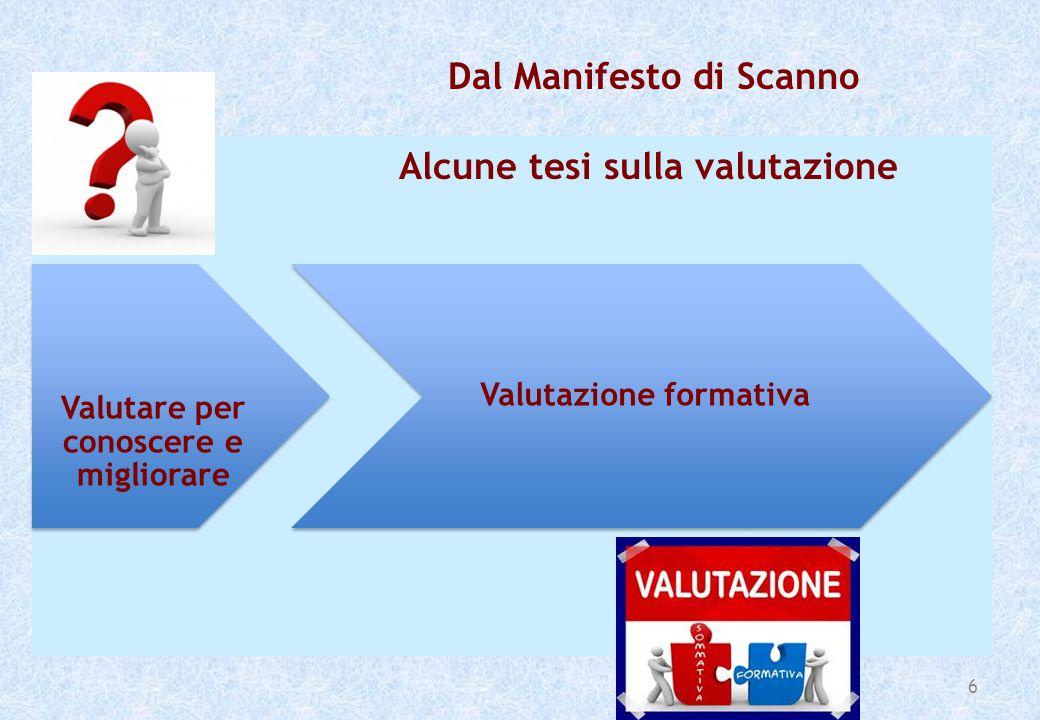 6 Valutare per conoscere e migliorare Valutazione formativa Dal Manifesto di Scanno Alcune tesi sulla valutazione