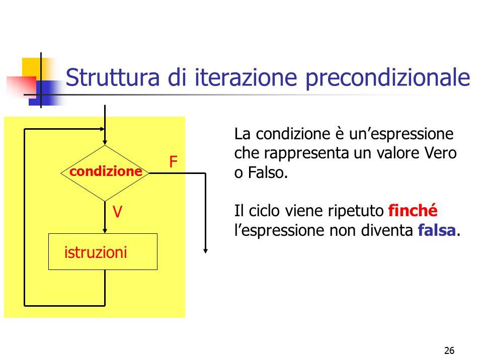 26 Struttura di iterazione precondizionale condizione istruzioni F V La condizione è un'espressione che rappresenta un valore Vero o Falso. Il ciclo v