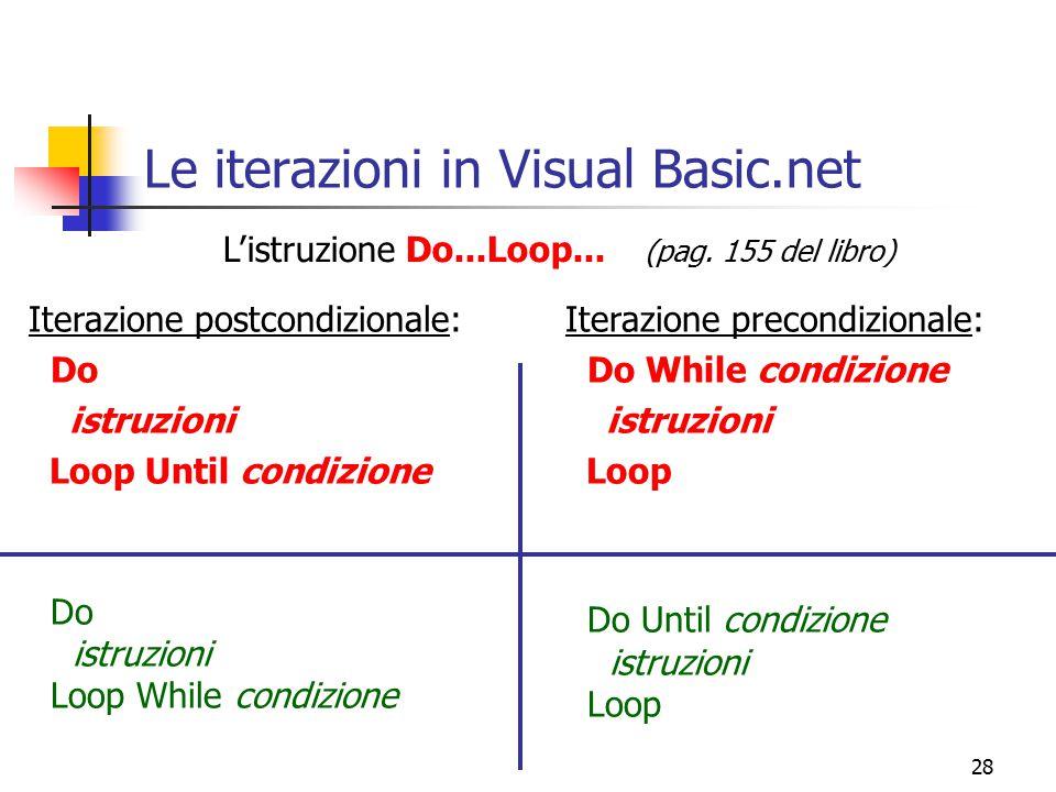 28 Le iterazioni in Visual Basic.net Iterazione postcondizionale: Do istruzioni Loop Until condizione Do istruzioni Loop While condizione Iterazione p