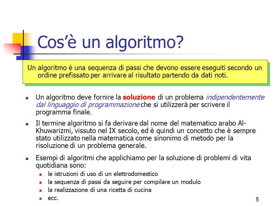 5 Cos'è un algoritmo? Un algoritmo è una sequenza di passi che devono essere eseguiti secondo un ordine prefissato per arrivare al risultato partendo