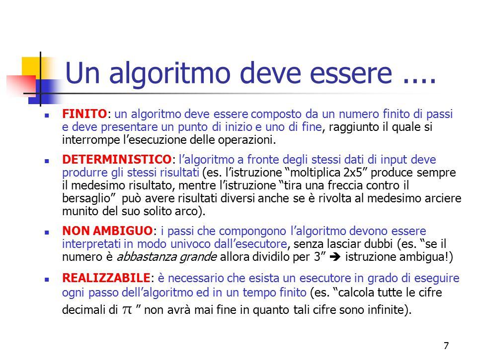 7 Un algoritmo deve essere.... FINITO: un algoritmo deve essere composto da un numero finito di passi e deve presentare un punto di inizio e uno di fi