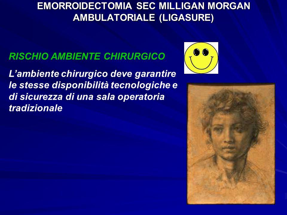 EMORROIDECTOMIA SEC MILLIGAN MORGAN AMBULATORIALE (LIGASURE) RISCHIO AMBIENTE CHIRURGICO L'ambiente chirurgico deve garantire le stesse disponibilità