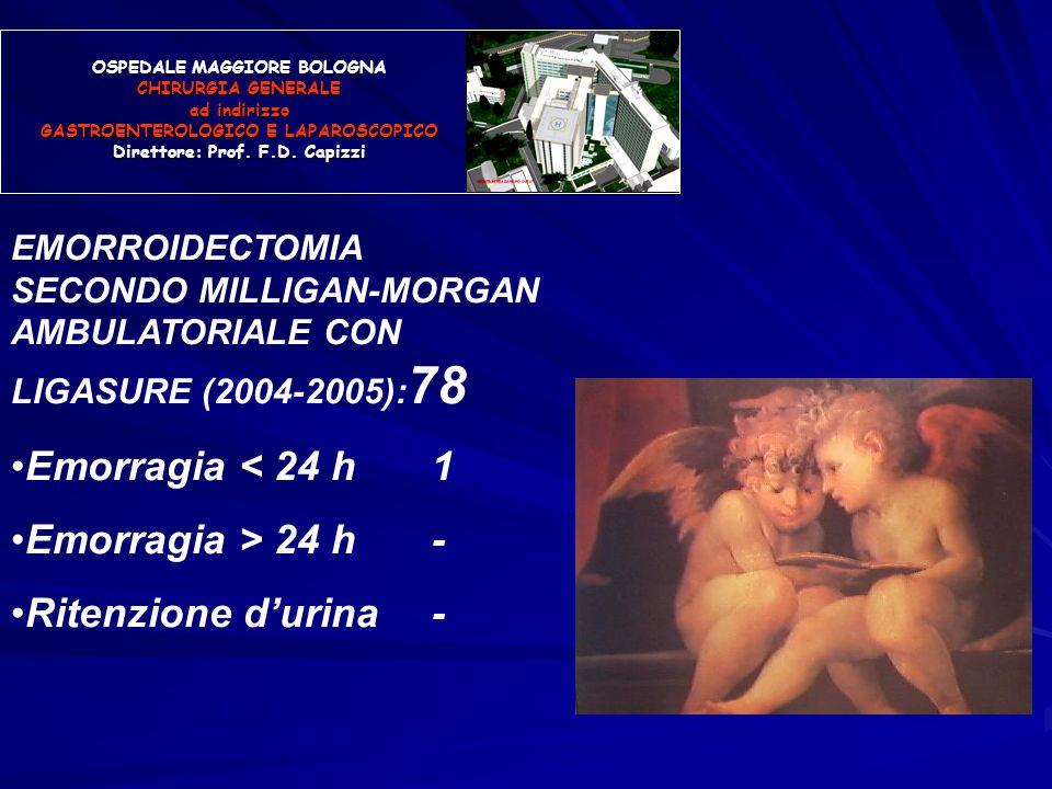 OSPEDALE MAGGIORE BOLOGNA CHIRURGIA GENERALE ad indirizzo GASTROENTEROLOGICO E LAPAROSCOPICO Direttore: Prof. F.D. Capizzi EMORROIDECTOMIA SECONDO MIL
