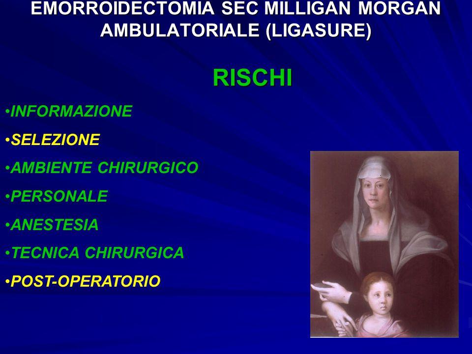 EMORROIDECTOMIA SEC MILLIGAN MORGAN AMBULATORIALE (LIGASURE) RISCHI INFORMAZIONE SELEZIONE AMBIENTE CHIRURGICO PERSONALE ANESTESIA TECNICA CHIRURGICA POST-OPERATORIO