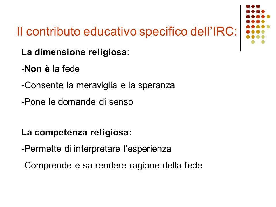 Il contributo educativo specifico dell'IRC: La dimensione religiosa: -Non è la fede -Consente la meraviglia e la speranza -Pone le domande di senso La