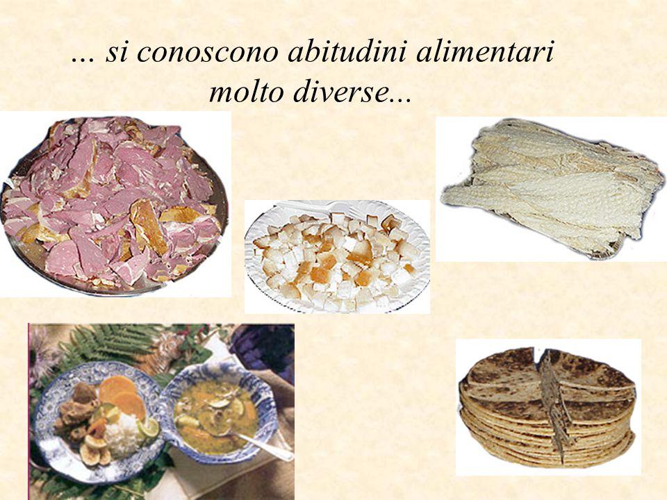… si conoscono abitudini alimentari molto diverse...
