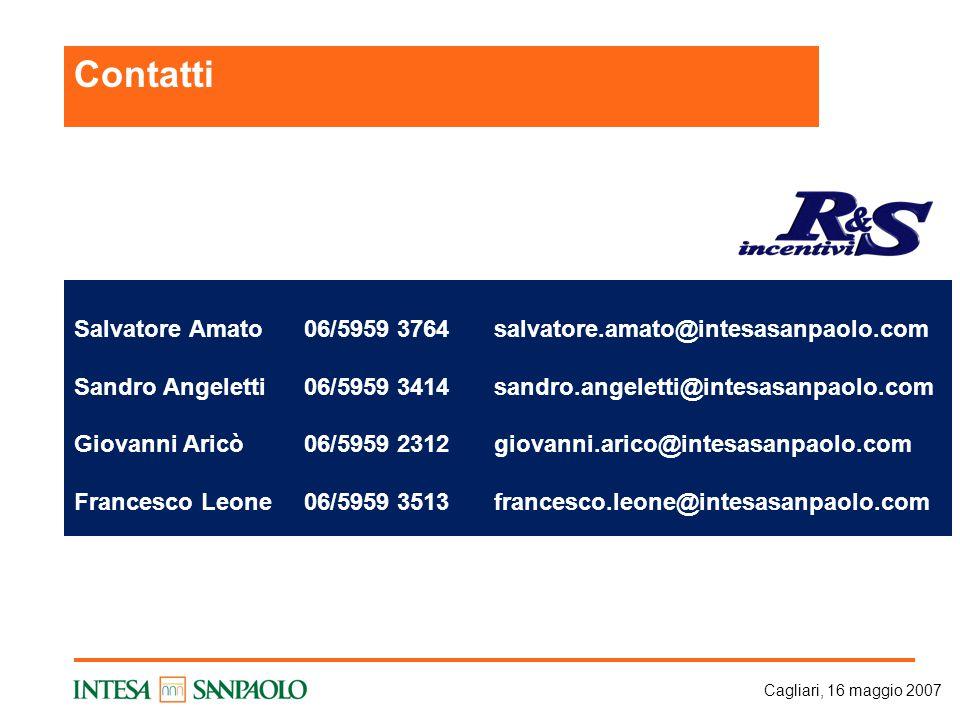 Cagliari, 16 maggio 2007 Salvatore Amato06/5959 3764salvatore.amato@intesasanpaolo.com Sandro Angeletti06/5959 3414sandro.angeletti@intesasanpaolo.com Giovanni Aricò06/5959 2312giovanni.arico@intesasanpaolo.com Francesco Leone06/5959 3513francesco.leone@intesasanpaolo.com Contatti