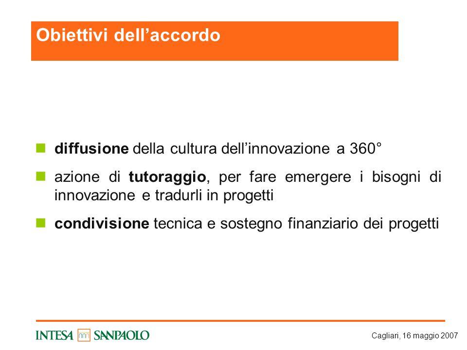 Cagliari, 16 maggio 2007 diffusione della cultura dell'innovazione a 360° azione di tutoraggio, per fare emergere i bisogni di innovazione e tradurli in progetti condivisione tecnica e sostegno finanziario dei progetti Obiettivi dell'accordo