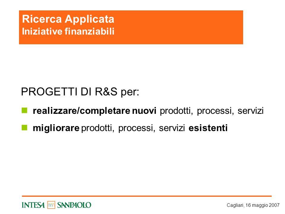 Cagliari, 16 maggio 2007 PROGETTI DI R&S per: realizzare/completare nuovi prodotti, processi, servizi migliorare prodotti, processi, servizi esistenti Ricerca Applicata Iniziative finanziabili