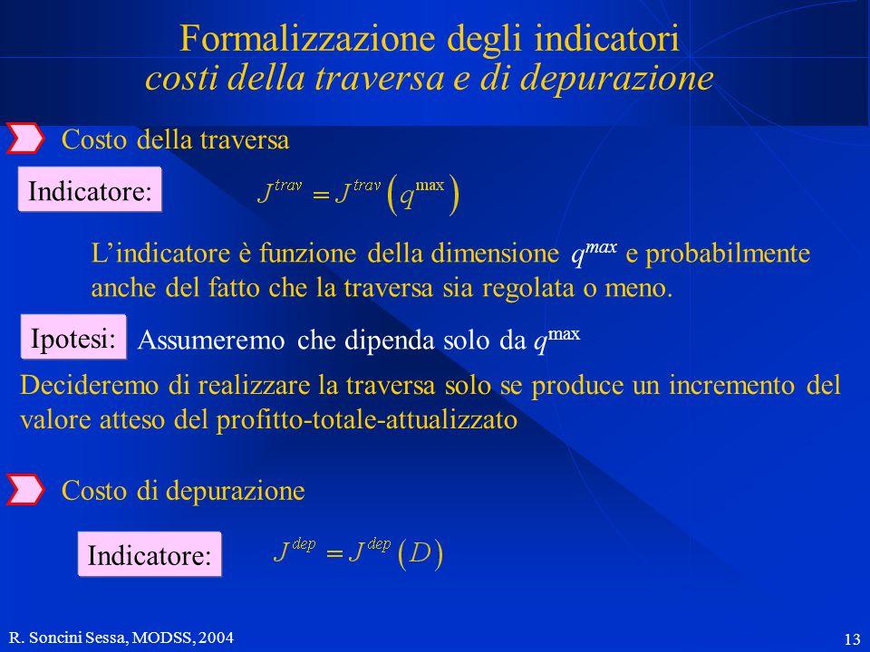 R. Soncini Sessa, MODSS, 2004 13 Costo della traversa Indicatore: Formalizzazione degli indicatori costi della traversa e di depurazione L'indicatore
