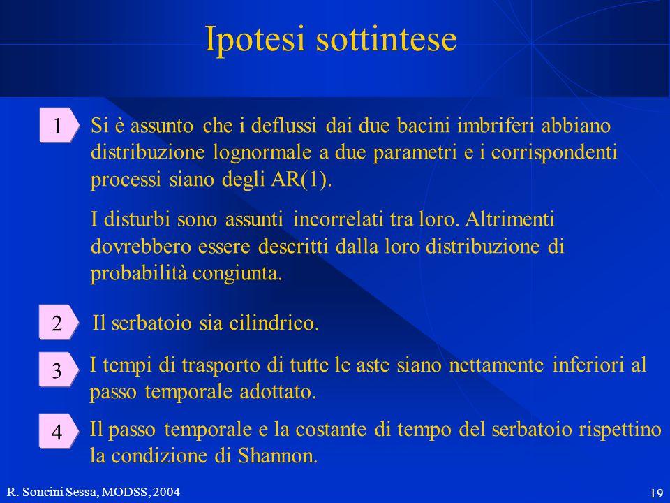 R. Soncini Sessa, MODSS, 2004 19 Ipotesi sottintese 1 2 3 Si è assunto che i deflussi dai due bacini imbriferi abbiano distribuzione lognormale a due