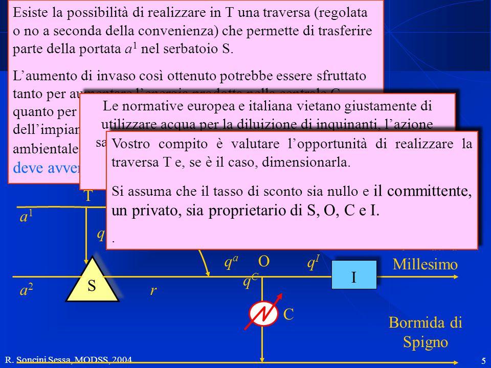 R. Soncini Sessa, MODSS, 2004 5 Descrizione del sistema a1a1 qTqT T qrqr a2a2 S r qaqa O Bormida di Millesimo Bormida di Spigno C qIqI I Esiste la pos