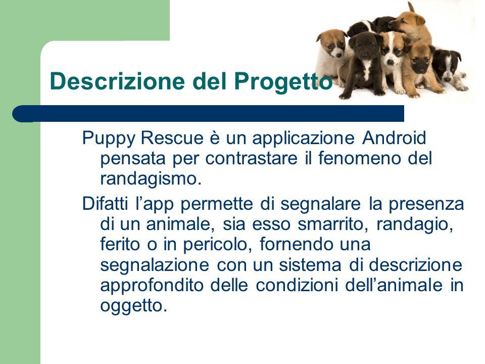Descrizione del Progetto Puppy Rescue è un applicazione Android pensata per contrastare il fenomeno del randagismo.