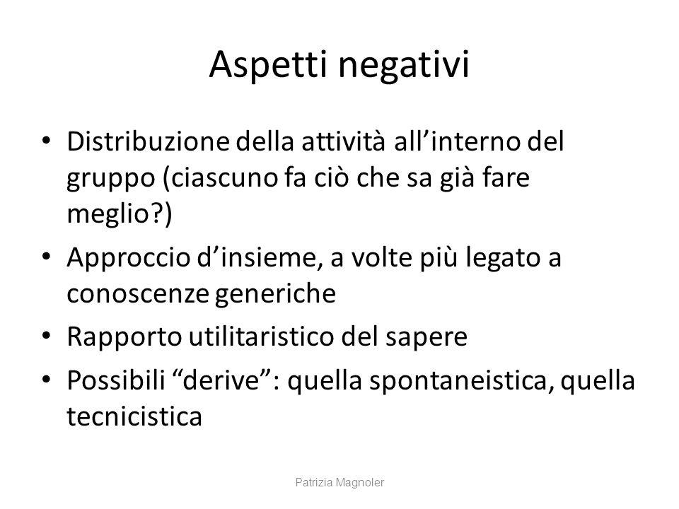 Aspetti negativi Distribuzione della attività all'interno del gruppo (ciascuno fa ciò che sa già fare meglio?) Approccio d'insieme, a volte più legato