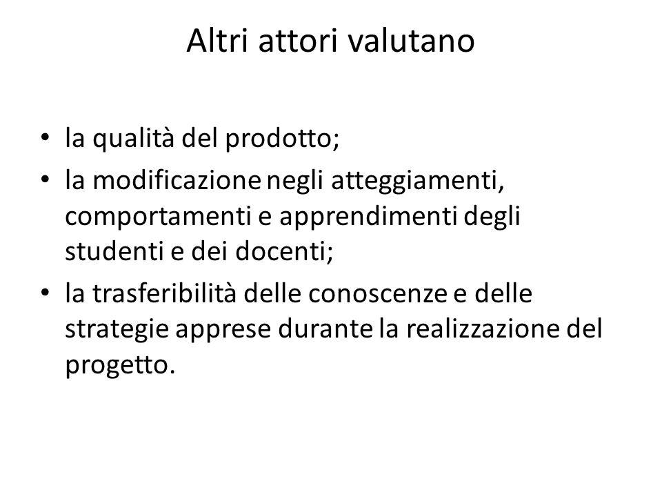 Altri attori valutano la qualità del prodotto; la modificazione negli atteggiamenti, comportamenti e apprendimenti degli studenti e dei docenti; la tr