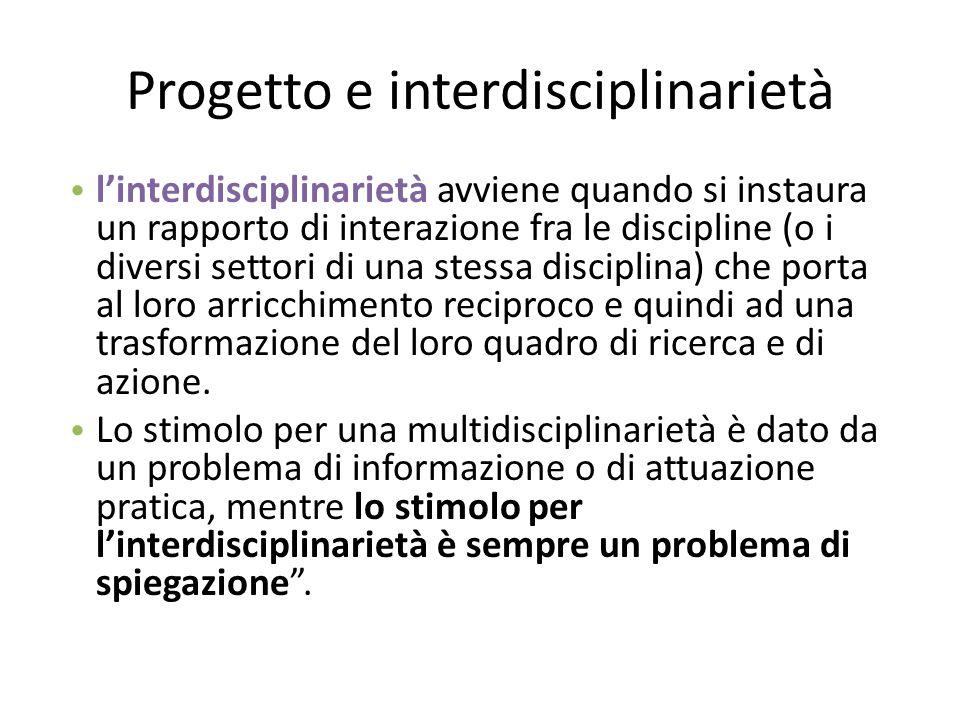 Progetto e interdisciplinarietà l'interdisciplinarietà avviene quando si instaura un rapporto di interazione fra le discipline (o i diversi settori di