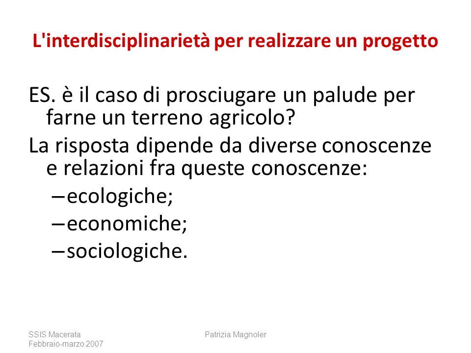 L'interdisciplinarietà per realizzare un progetto ES. è il caso di prosciugare un palude per farne un terreno agricolo? La risposta dipende da diverse