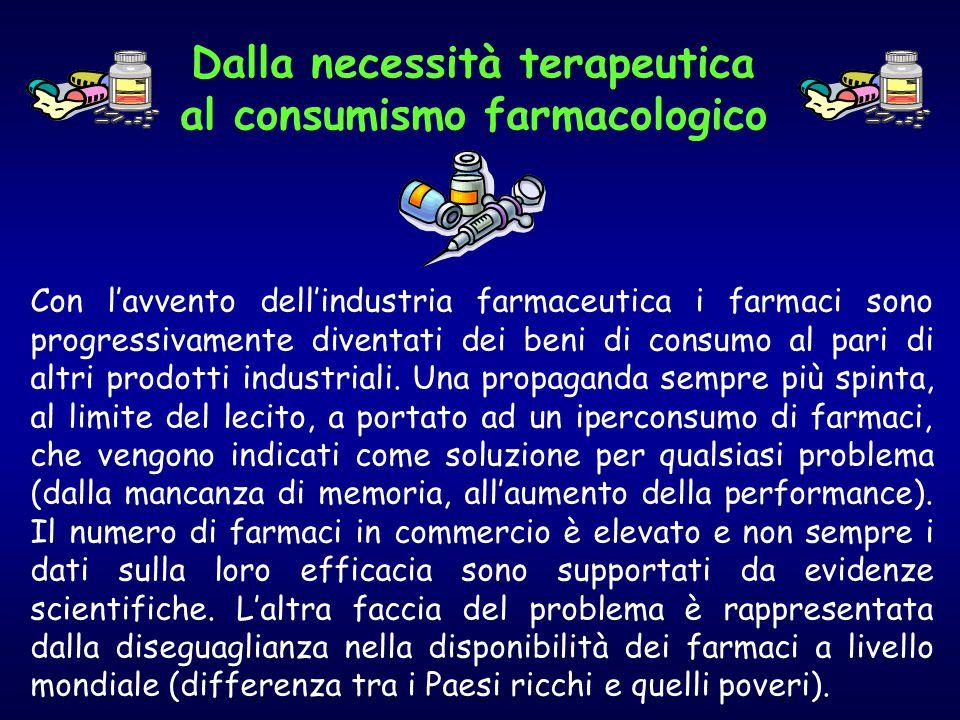 Con l'avvento dell'industria farmaceutica i farmaci sono progressivamente diventati dei beni di consumo al pari di altri prodotti industriali.
