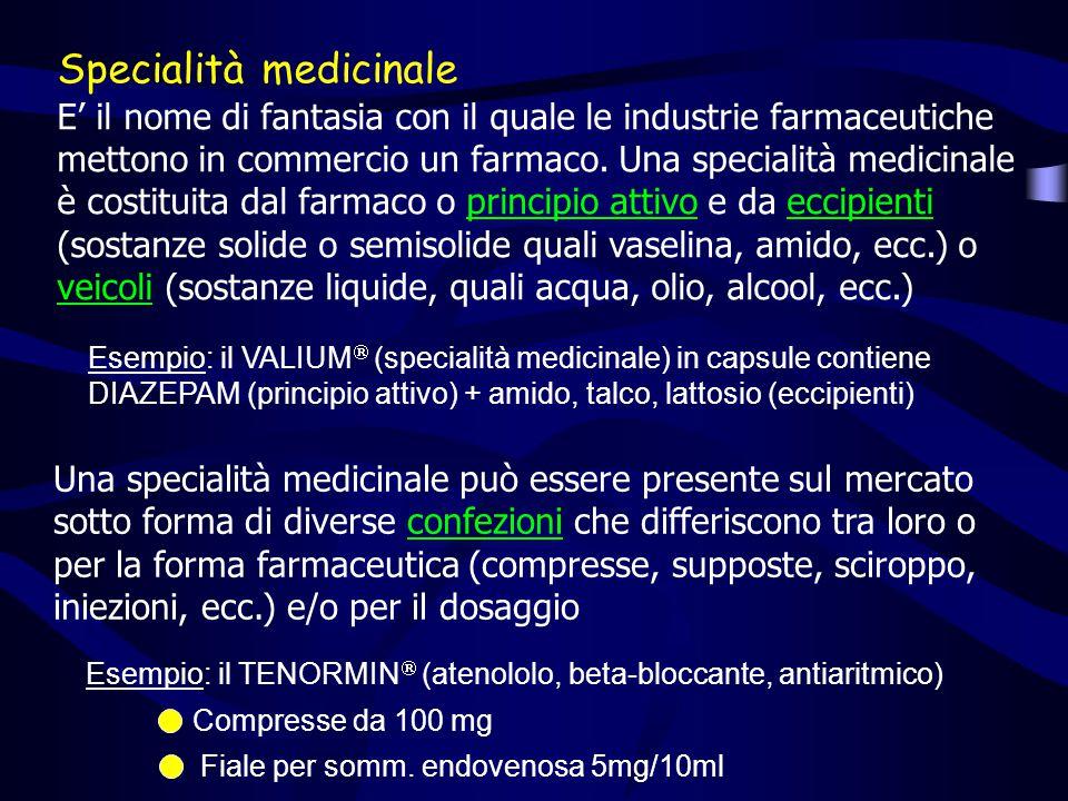 Specialità medicinale E' il nome di fantasia con il quale le industrie farmaceutiche mettono in commercio un farmaco.